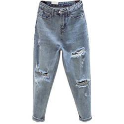 Ff1003 2019 nova moda outono inverno casual denim calças namorado buraco das mulheres jeans de cintura alta rasgado jeans para mulher