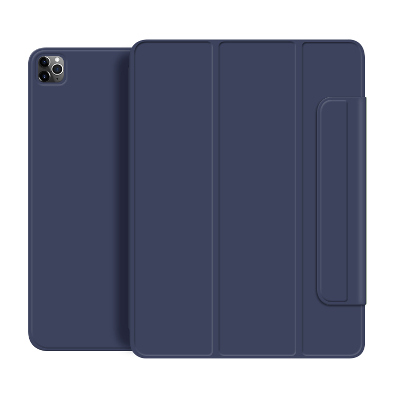 Navy blue Blue For iPad Pro 2020 12 9 inch case Smart cover Tri fold magnet Back protector Buckle