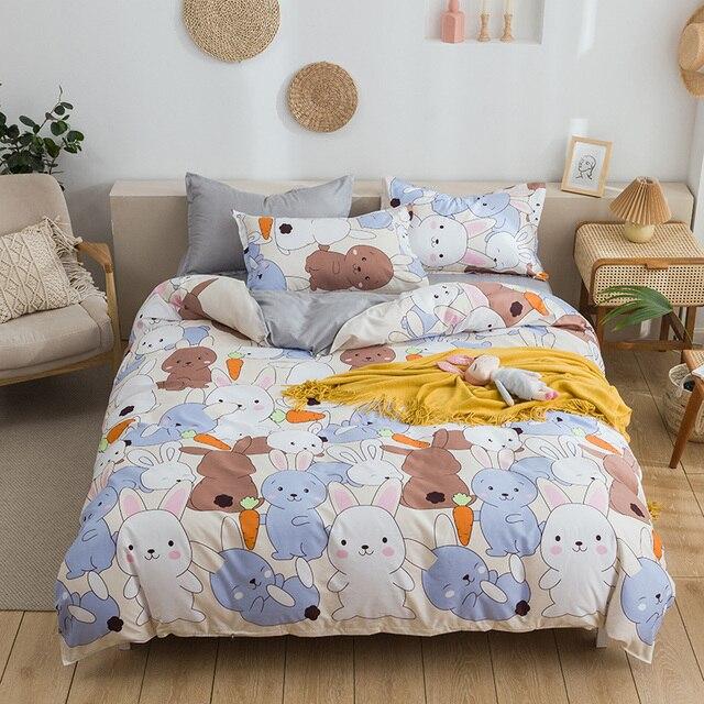 กระต่ายและแครอทพิมพ์ชุดเครื่องนอนการ์ตูนน่ารักสัตว์ผ้านวมที่นอนปลอกหมอนผ้าปูเตียงเด็กผู้ใหญ่3/4Pcs