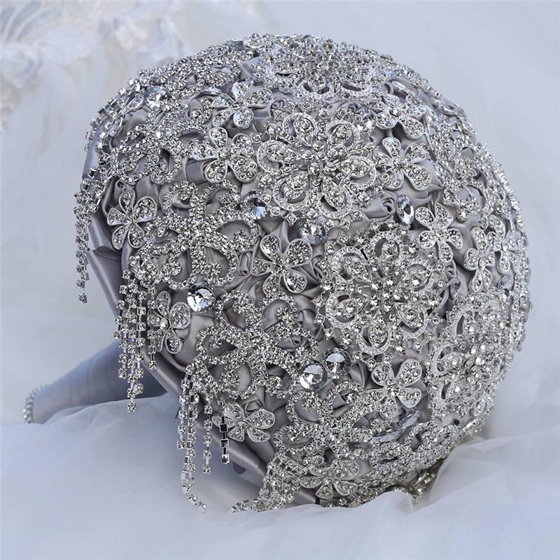 Luxe diamant Bouquets de mariée argent strass cristal fleurs de Mariage Bouquets de mariée Satin artificiel Bouquet Mariage W2212