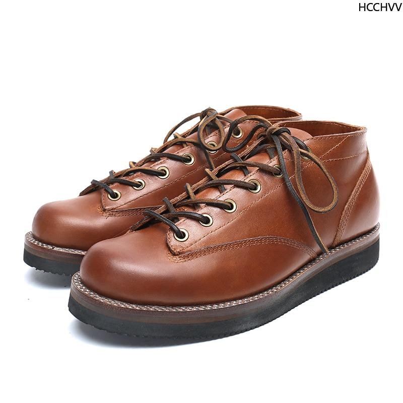 Vente printemps automne laçage cheville bottes basses hommes mode blanc talon carré homme chaussures en cuir hiver grande aile chaussures à la main blanc