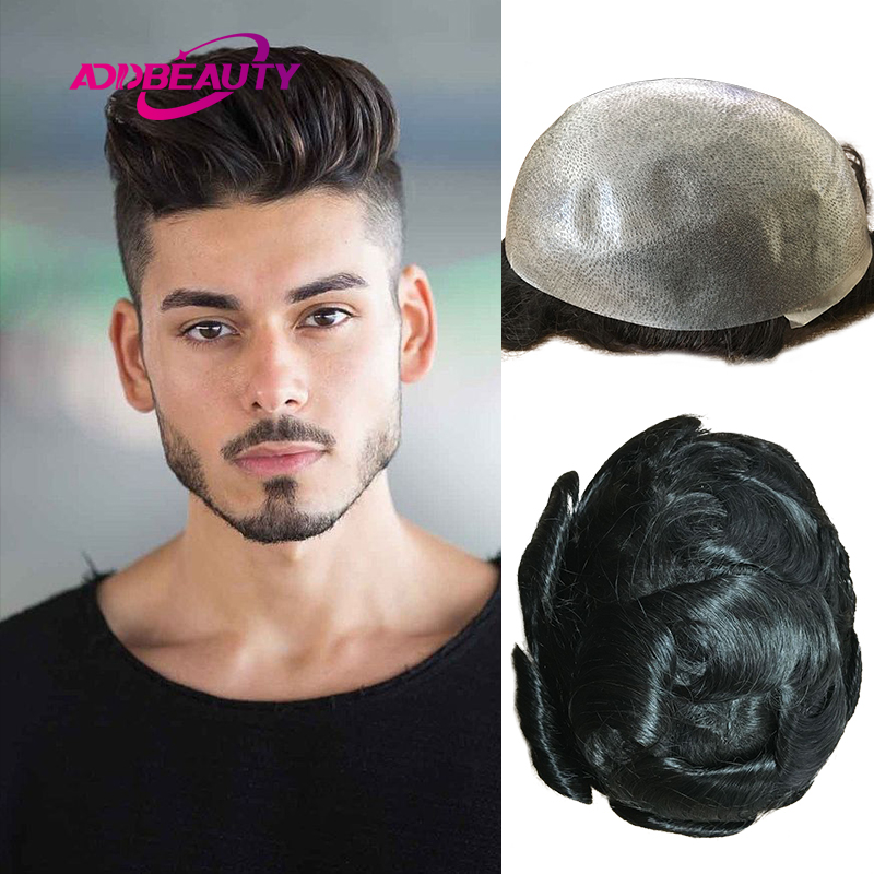 PU Men Toupee Thin Skin PU 6mm-8mm Wave Indian Human Remy Hair Wig Men's Hairpiece Hair System Pre Plucked Hairline 6inches 110%