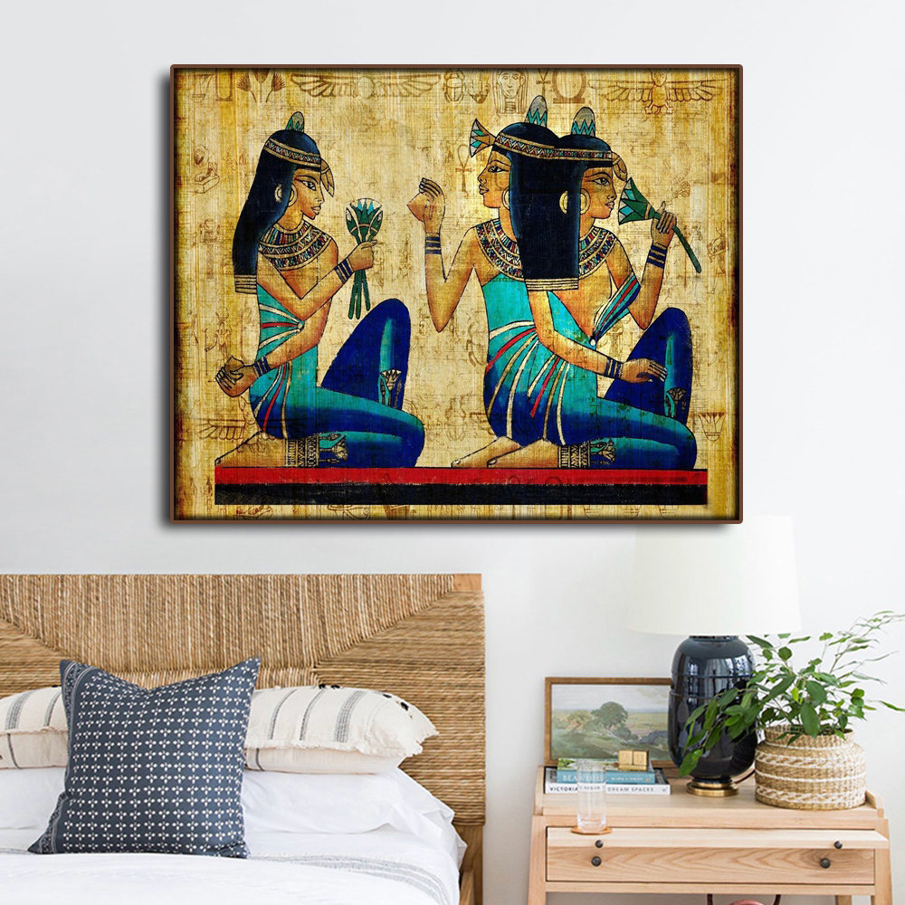Egypt Mural Maid Ancient Obsolete Decorative Canvas Painting Calligraphy For Bedroom Living Room Bathroom Vintage Home Decor in Painting Calligraphy from Home Garden