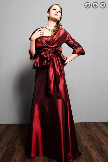 Free Shipping Hot New Design Red Satin 2016 Formal Evening Vestidos Formales Long Mother Of The Bride Dresses With Jacket