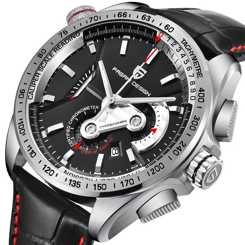 PAGANI DESIGN acier inoxydable chronographe hommes montre étanche militaire Sport montre homme Quartz cuir montre.