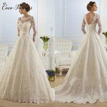 Vestidos דה Noiva כדור שמלת חתונת שמלת 2020 ארוך שרוולי פניני טול Robe Ee Mariage Casamento שמלת כלה סין W0009