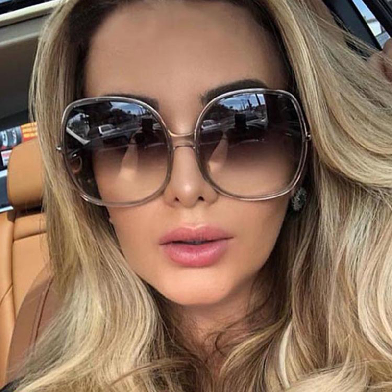 New Round Frame Sunglasses Women Retro Brand Designer Brown Black Oversized Lady Sun Glasses Female Fashion Outdoor Driving