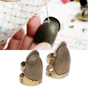 Metal Retro dedal para coser Pin agujas dedo Protector Vintage dedal para coser DIY herramienta de costura y suministros de tejer