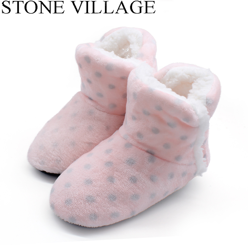 STONE VILLAGE Free Size Polka Dot Plush Home Slippers Indoor Shoes Women Winter Slippers Women