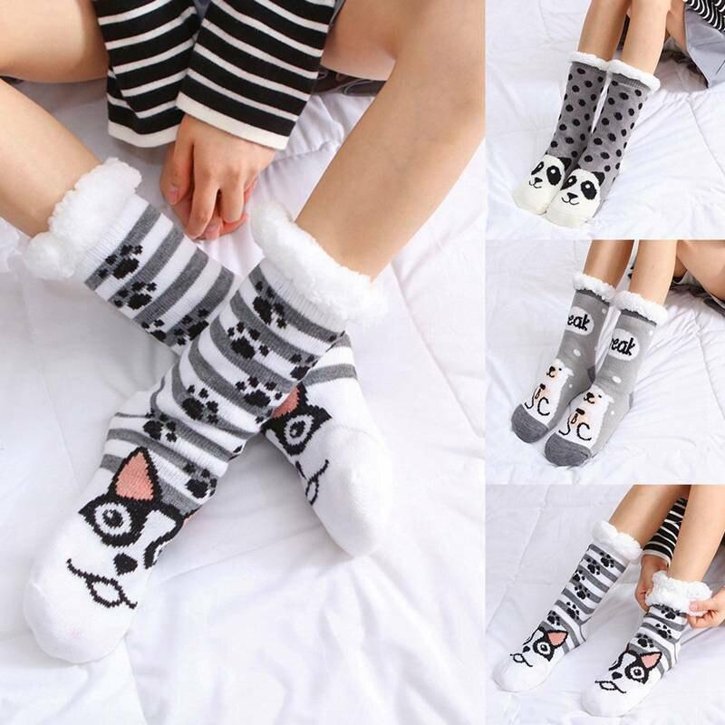 HOT Winter Long Thicken Fleece Lined Socks Women Soft Warm Fuzzy Cartoon Floor Slipper Socks 19ING