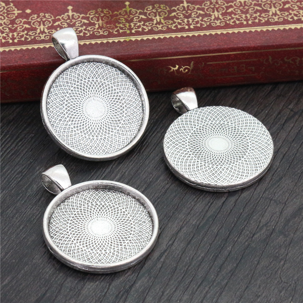 New Fashion  10pcs 25mm Inner Size Antique Silver Plated Classic Style Cabochon Base Setting Charms  Pendant (A5-01)