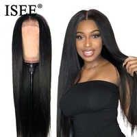 ISEE HAIR 360 peluca Frontal de encaje pelucas de cabello humano de densidad 150% para mujeres negras Remy malasio encaje recto Frontal humano pelucas de cabello