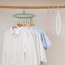 Пластмассовые вешалки для одежды 9 отверстий полотенца крюк шкаф Органайзер пластиковая стойка для хранения пористая Волшебная вешалка многофункциональная Складная 821