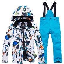 Комплект детской лыжной одежды для мальчиков и девочек, плотная водонепроницаемая куртка, зимняя теплая одежда, штаны