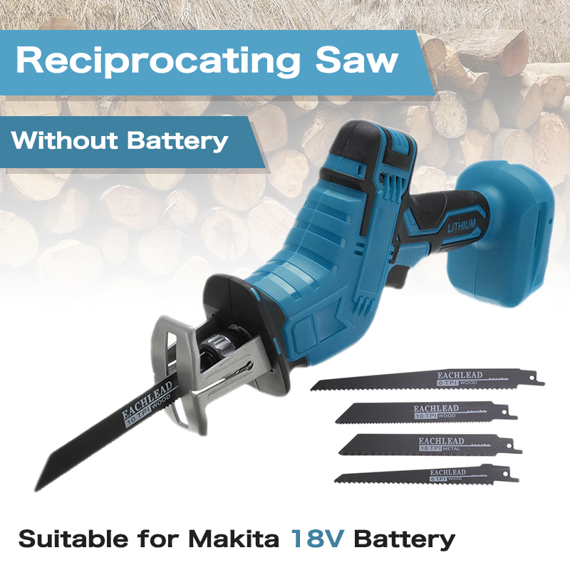 18V Wood Cutting Portable Cordless Chainsaw Wood Cutting Machine With 4 Saw Blades Without Battery For Makita Chainsaw