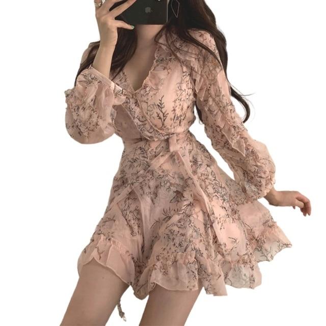 Women Mini Dress 2020 Spring New V-neck Floral Chiffon Dress High Waist Flare Sleeve Female Dress Woman's Dress KarolyiDora KA88 1