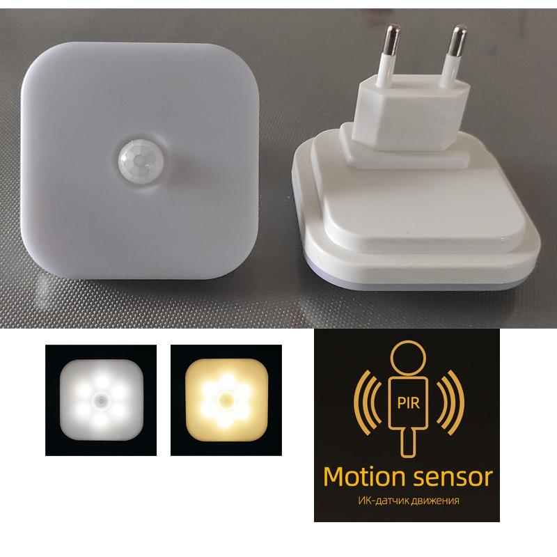 Светодиодный ночник с европейской вилкой, умный светильник с датчиком движения для дома, лестницы, чулана, коридора, туалета, прикроватный с...