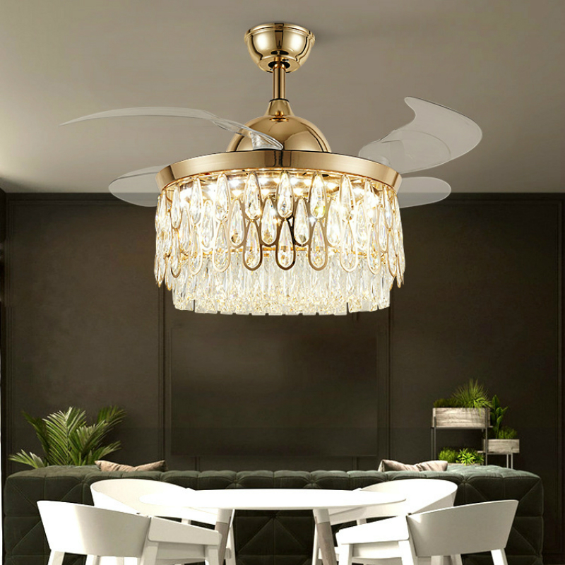Light Luxury Crystal Invisible Ceiling Fan Light Living Room Ceiling Fan With Light Ceiling Fan With Lights Remote Control Elegant In Style