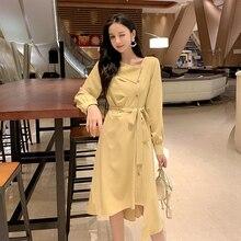 цены Irregular Yellow Long Sleeve Dress New Fashion Korean Style Sashes Elegant Dress Women High Quality Sweet Midi Robe Femme S-XL
