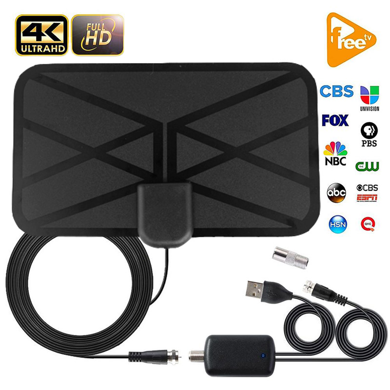 Indoor TV Antenna With Amplifier Signal Booster DVB T2 HD HQClear Digital Satellite Dish Aerial TDT TV Receptor Antennas EU Plug