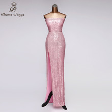 Prom-Dresses Evening-Dress Pink Robe-De-Soiree Strapless Vestidos-De-Fiesta Noche Party-Ankle-Length