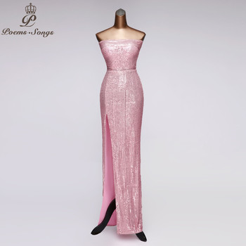 Sexy evening dress party ankle-length vestidos de fiesta noche pink strapless gown robe soiree prom dresses - discount item  56% OFF Special Occasion Dresses