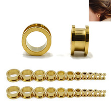 1 Pair 3-25mm Stainless Steel Ear Tunnels Plugs Gold Expander Stretcher Gauges Piercing Jewelry