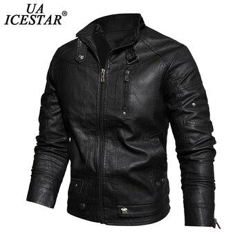 UAICESTAR Men Leather Jacket Thicken Fleece Motorcycle Leather Coat Men's 2020 Winter Vintage Outwear Faux Leather Jackets Men maplesteed vintage motorcycle jacket men leather jacket 100