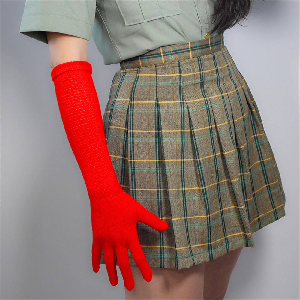 Long Wool Gloves 40cm Knitting Five Fngers High Elasticity With Wool Female Models Warm Big Red Ex-Factory Price ZZ40-5