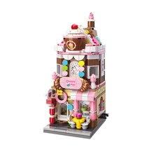 Мини Строительные кирпичики город улица десерт магазин модель