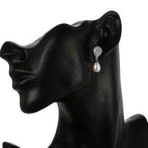 Image 4 - Luxury Female Ladies Stone Stud Earrings Elegant Bride Wedding Earrings Fashion Silver Color Double Pearl Earrings For Women