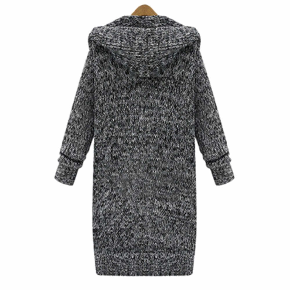 긴 카디 건 숙녀 2019 가을 패션 긴 니트 스웨터 여성 대형 코트 캐주얼 블랙 자켓 겨울 의류 스웨터