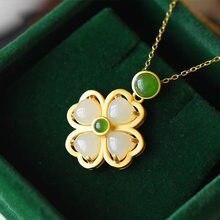 Natural hetian jade trevo pingente colar 925 prata moda jóias chalcedônia amuleto presentes para mulher