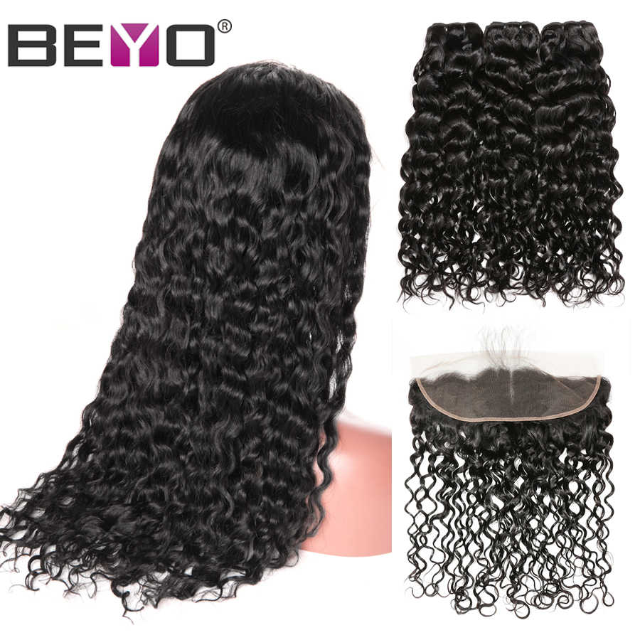 Water Wave 13X4 Lace Frontal Wig 300% Density Brazilian Custom Lace Wigs By Remy Hair Bundles With Frontal Beyo Hair Lace Wig