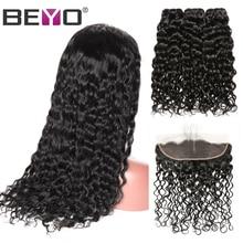 Wig Remyhairbundleswithfrontalbeyohair Lacefrontal Brazilian Water-Wave density Customlace