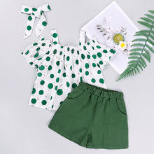 fashion clothes One-shoulder short-sleeved polka-dot top and shorts two-piece suit girls clothing set  girls boutique outfits