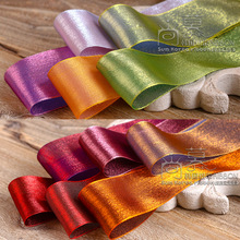 100yards 25mm 40mm rainbow glitter organza sheer ribbon for bouquet flower packing bow wedding party decoration supplies