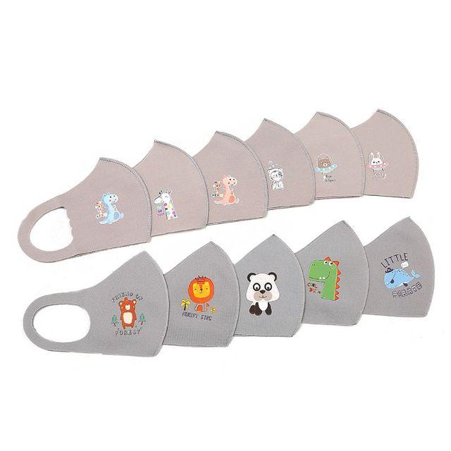 10Pcs PM2.5 Kid Reusable Anti Flu Face Mask Breathable Washable Sponge Dustproor Mouth Mask Random Pattern for Children 1