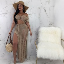 2019 Women Short Sleeve Bowknot Crop Top And Sheer Long Skirt Set Sexy Club Party V Neck Bandage 2 Piece Bodycon Suits