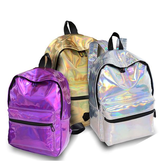 Laser Backpack Women Fashion Travel Bags 2019 Backpack New Women Backpack PU leather Holographic Backpack Girls Shoulder Bag