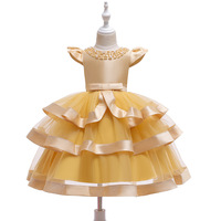 Children Christmas Clothes Blue Red Wedding Elegant Evening Ball Gown Kids Princess Birthday Party Yellow Dress for Girls