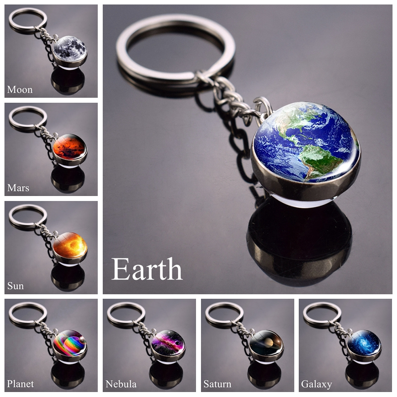 Solar System Planet Keychain Moon Earth Mars Galaxy Art Picture Cabochon Glass Ball Key Chain Universe Jewelry For Men For Women