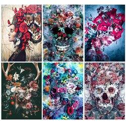 New arrivals, 5d diamond painting, complete cartoon skull pattern, circle, diamond, embroidery, mosaic, gift