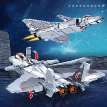 Military Plane Building Blocks DIY Assembled Aircraft War Weapon Model with Figures 2 in 1 Bricks Toys for Boys Children Gift