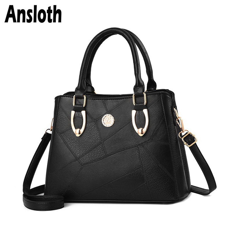 Ansloth Vintage Handbag Women PU Leather Handle Bag Solid Color Shoulder For Lady Big Crossbody Female Tote HPS705