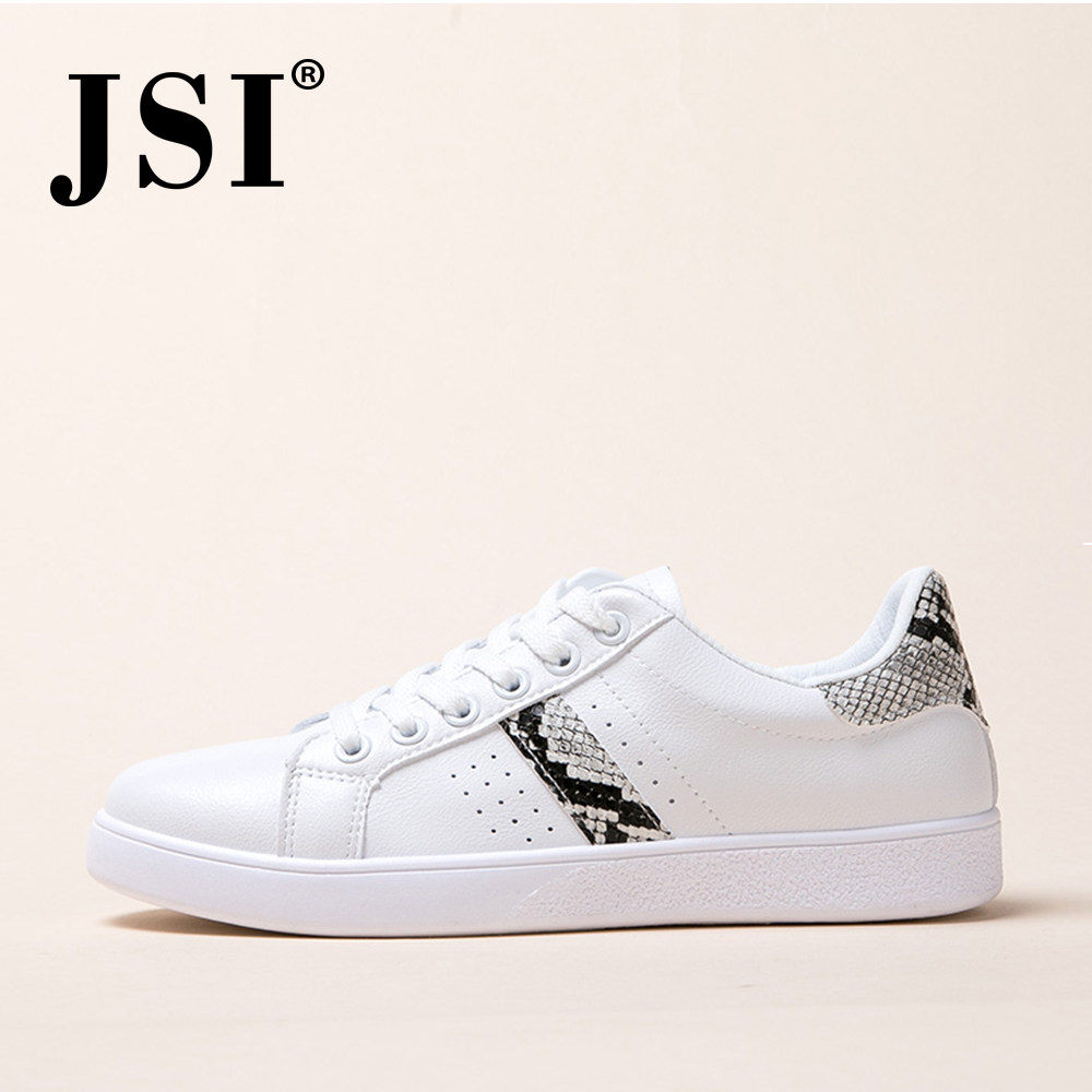 JSI New Sneaker Flats Fashion Design Snake Pattern Leisure Comfortable Round Toe Women's Little White Shoes Handmade Flats