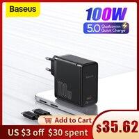 Baseus GaN2 UE 100W tipo C portátiles Tablet cargador QC 5 QC 4,0 PD 3,0 GaN cargador rápido para Apple Pro Lenovo Dell Huawei