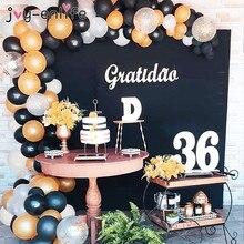 113pcs Black Gold Balloon Garland Arch Kit Balloons 30th Birthday Anniversary Party Decorations Adult Wedding Backdrop Supplies