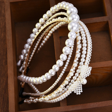 New Luxury Big Pearl Headband Women Bow Sunflower Hoops Girls Hair Accessories Fashion Jewelry accesorios para el cabello mujer cheap Plastic Adult Hairbands SF703-SF707