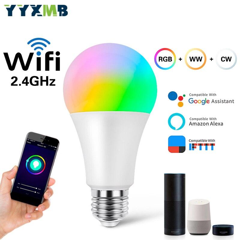 Yyxmb conduziu a lâmpada inteligente wifi lâmpada rgb + ww + cw regulável compatível amazon eco/google casa/ifttt controle de voz